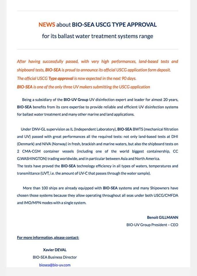 BIO-SEA press release about its USCG Type Approval application